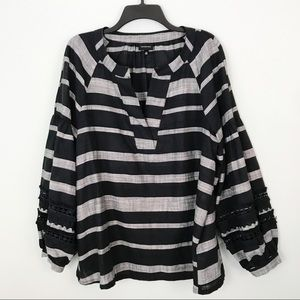 Tops - Who What Wear Striped Black Gray Cotton Top